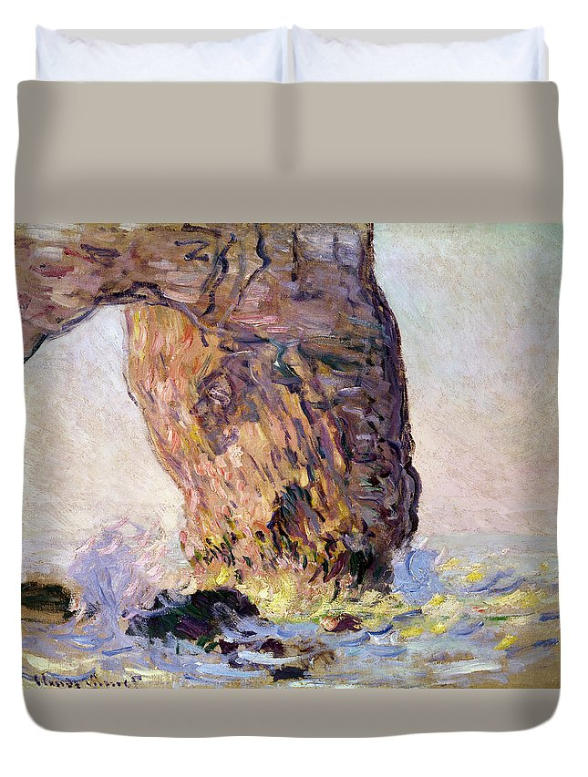Impressionist; Normandy Coast; Coastal; Arch; Waves; Breakers; Falaise Duvet Cover featuring the painting La Manneporte by Claude Monet