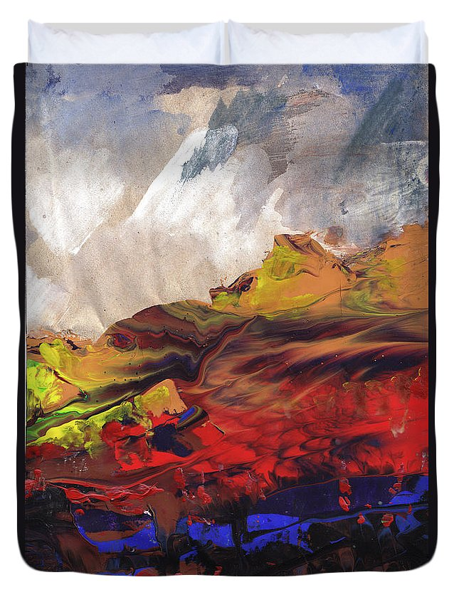 Landscapes Duvet Cover featuring the painting La Mer Rouge by Miki De Goodaboom