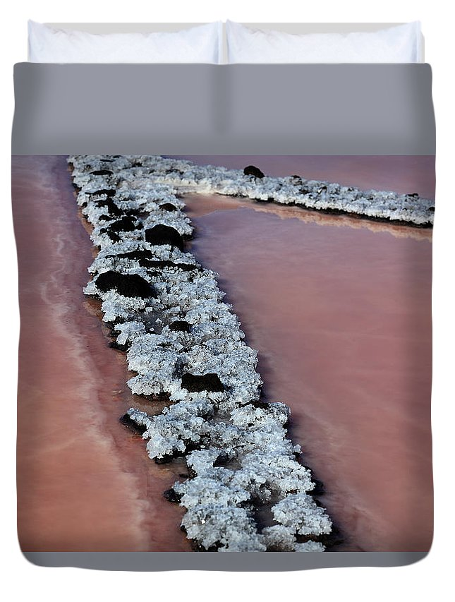 Palma Duvet Cover featuring the photograph La Palma, Canary Island, Red Algae, Dunaliella Salina In The Crystallization Basin by Heinz Tschanz-Hofmann