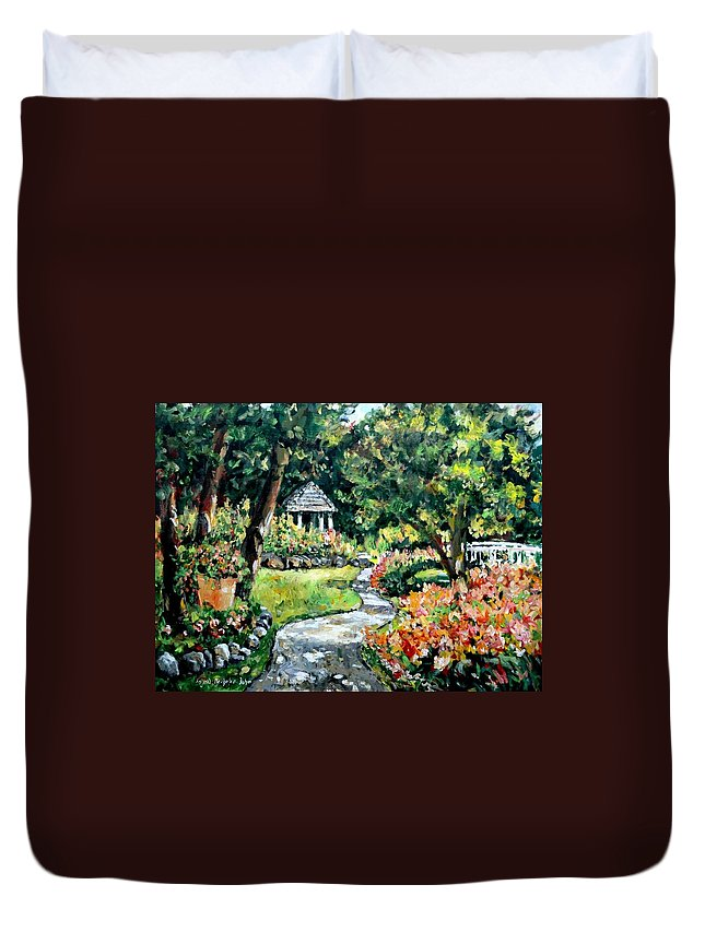 Landscape Duvet Cover featuring the painting La Paloma Gardens by Alexandra Maria Ethlyn Cheshire