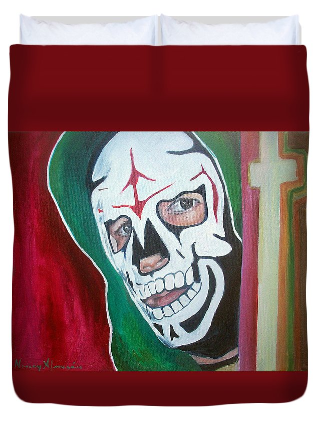 Wrestler Duvet Cover featuring the painting La Parka by Nancy Almazan