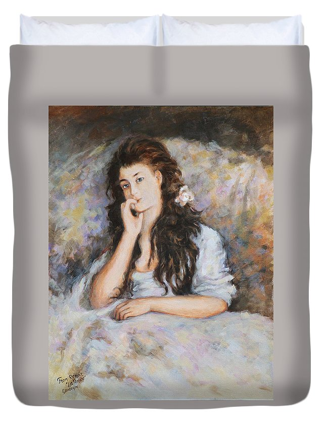 Portrait Duvet Cover featuring the painting La Pensee My Reproduction Of Renoirs Work by Ekaterina Mortensen
