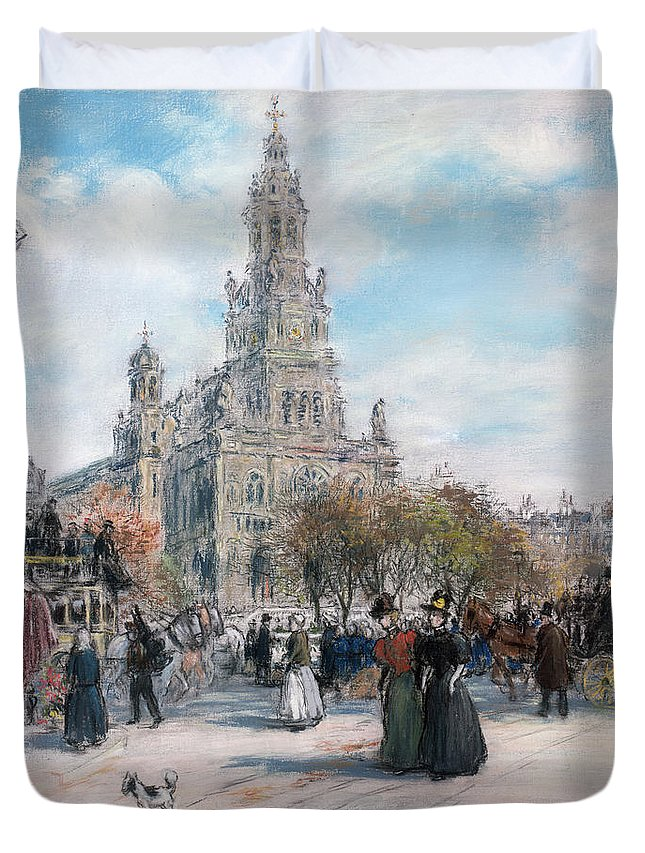 Paris Duvet Cover featuring the pastel La Place De Trinite by Jean Francois Raffaelli