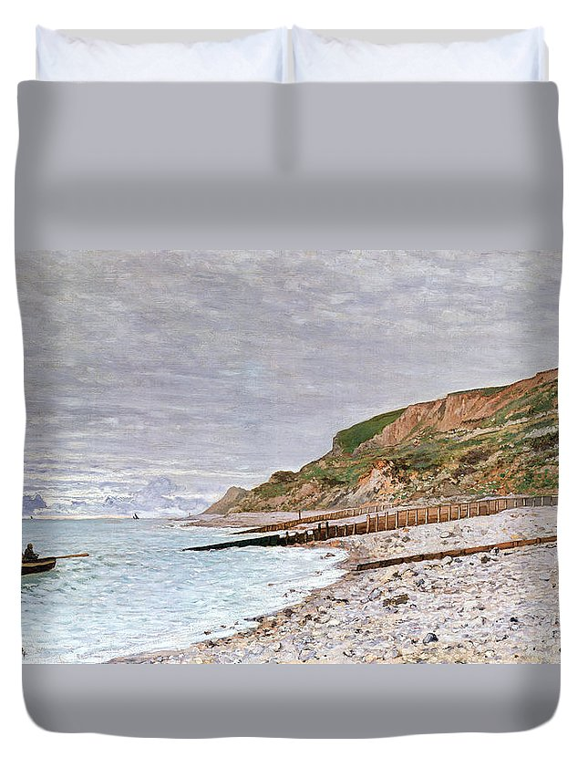 La Pointe De La Heve Duvet Cover featuring the painting La Pointe De La Heve by Claude Monet
