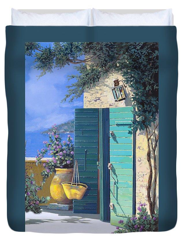 Terrace.ligurian Sea Duvet Cover featuring the painting La Porta Verde by Guido Borelli