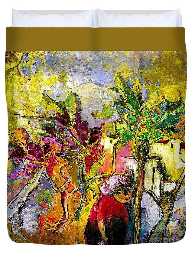 Landscape Painting Duvet Cover featuring the painting La Provence 05 by Miki De Goodaboom