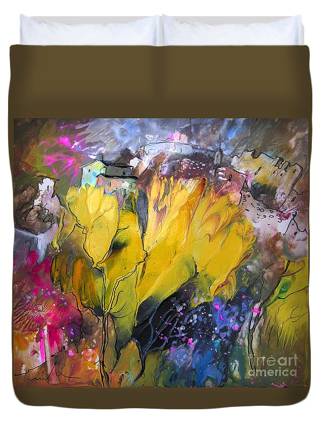 Landscape Painting Duvet Cover featuring the painting La Provence 06 by Miki De Goodaboom