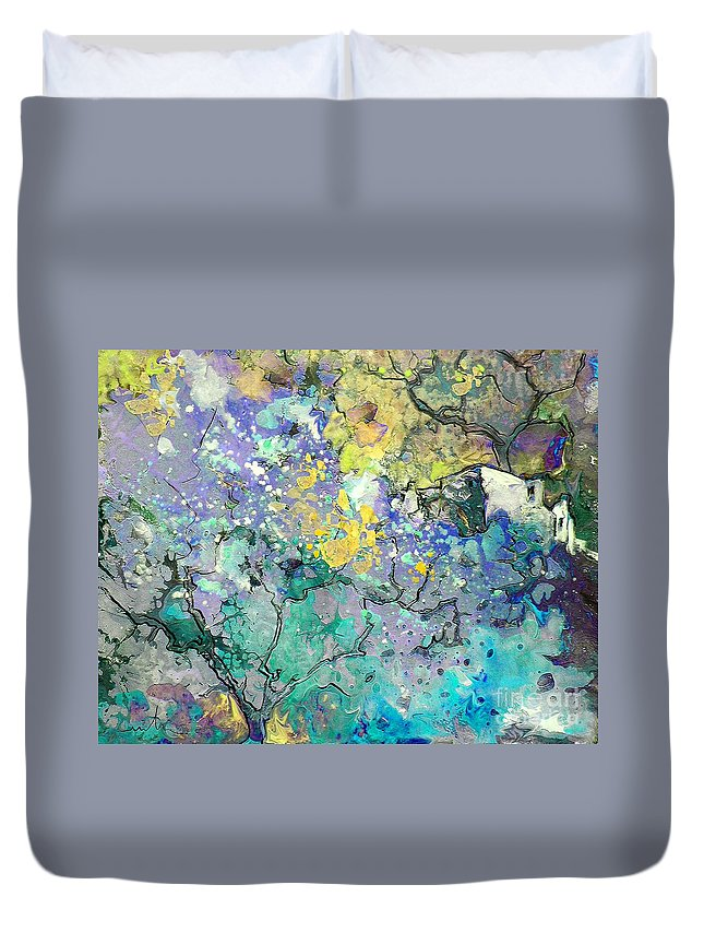 Landscape Painting Duvet Cover featuring the painting La Provence 08 by Miki De Goodaboom