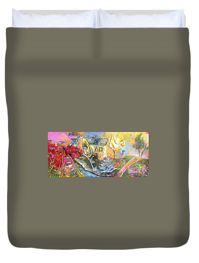 Landscape Painting Duvet Cover featuring the painting La Provence 11 by Miki De Goodaboom