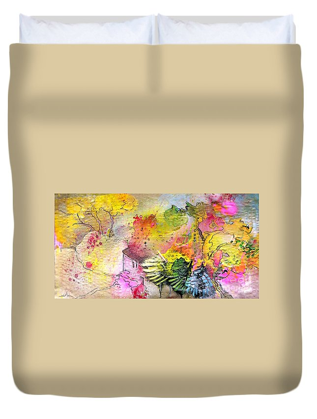 Landscape Painting Duvet Cover featuring the painting La Provence 12 by Miki De Goodaboom