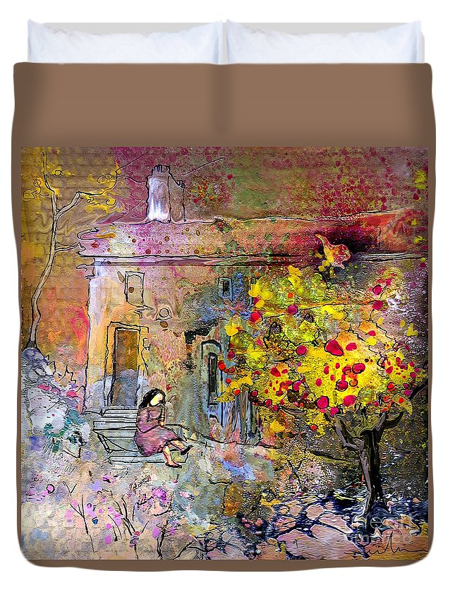 Landscape Painting Duvet Cover featuring the painting La Provence 13 by Miki De Goodaboom
