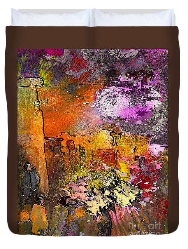 Landscape Painting Duvet Cover featuring the painting La Provence 14 by Miki De Goodaboom