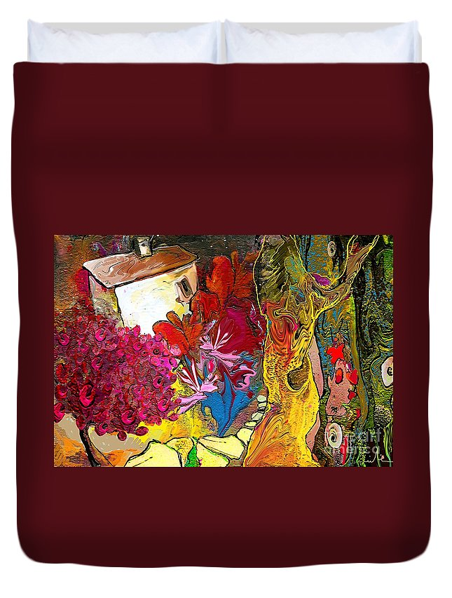 Landscape Painting Duvet Cover featuring the painting La Provence 15 by Miki De Goodaboom