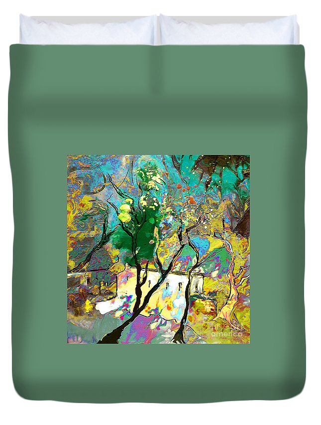 Miki Duvet Cover featuring the painting La Provence 16 by Miki De Goodaboom