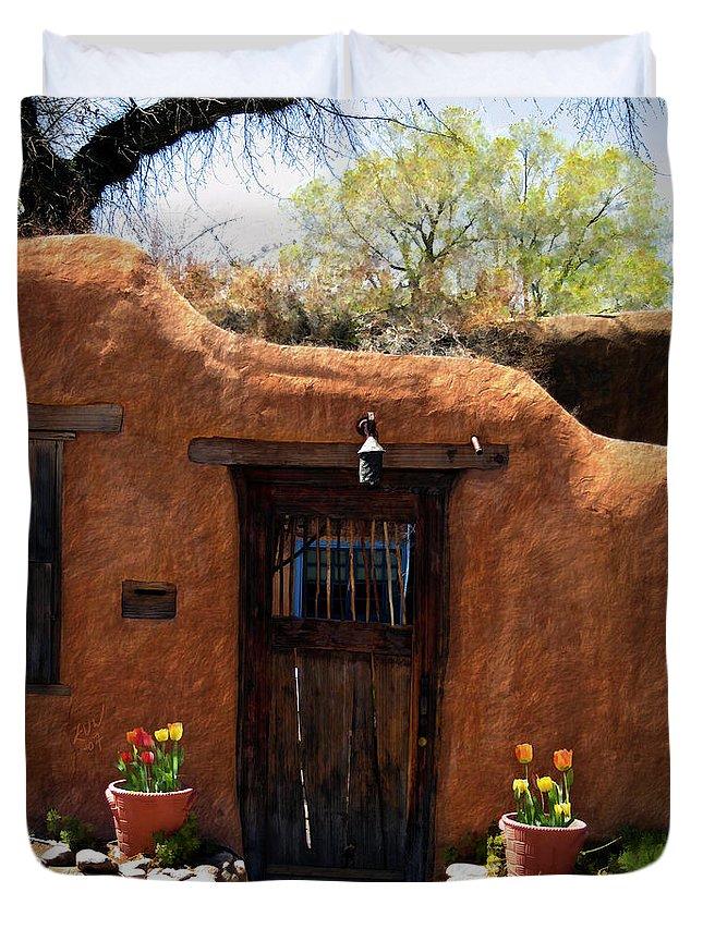 Door Duvet Cover featuring the photograph La Puerta Marron Vieja - The Old Brown Door by Kurt Van Wagner