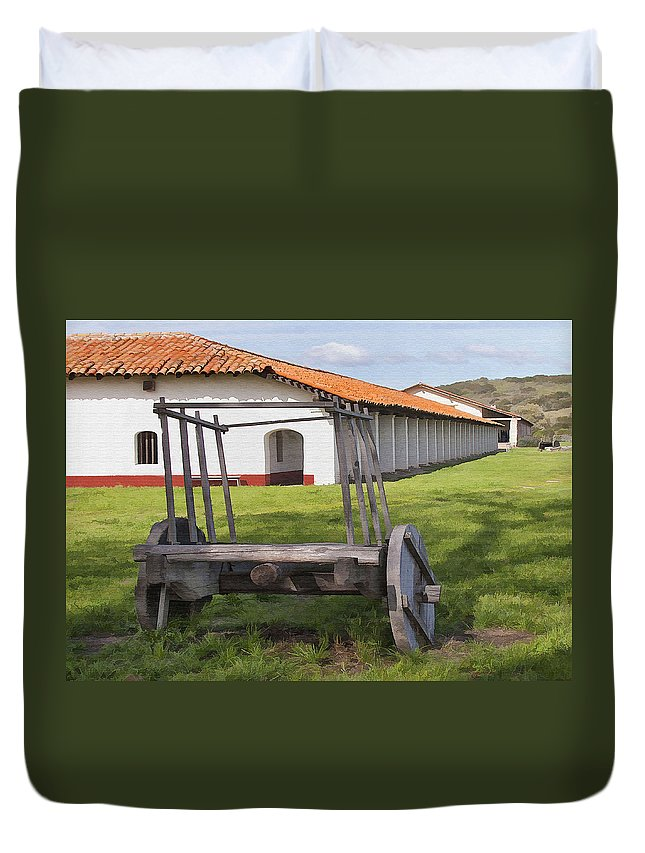 La Purisima Duvet Cover featuring the digital art La Purisima Arches by Sharon Foster