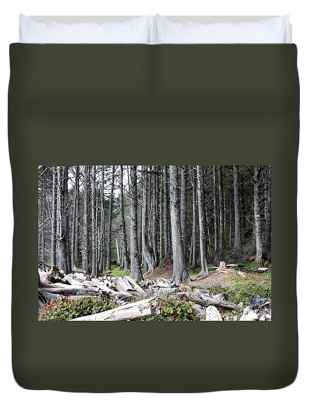 Wolf Legends Duvet Cover featuring the photograph La Push Beach Trees by Carol Groenen