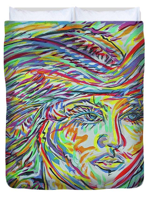 Adelita Duvet Cover featuring the painting La Rosita by Jimmy Longoria