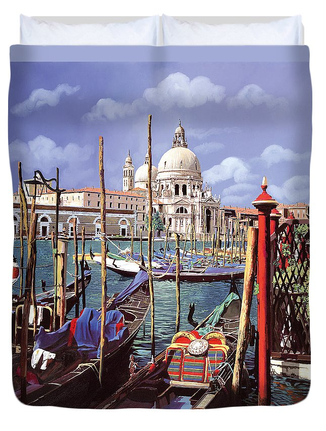 Church Duvet Cover featuring the painting La Salute by Guido Borelli