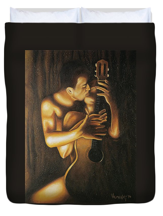Acrylic Duvet Cover featuring the painting La Serenata by Arturo Vilmenay