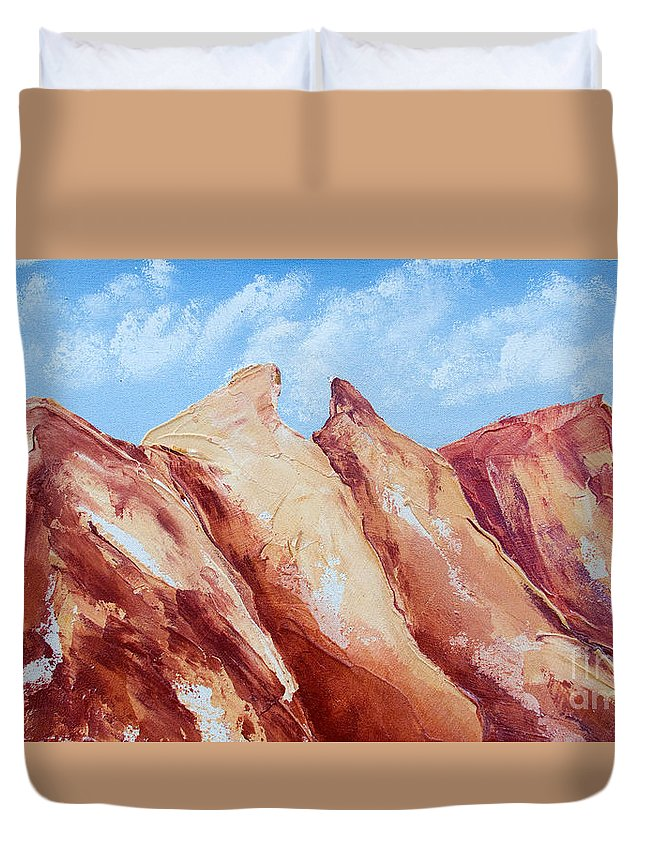 Mountains Duvet Cover featuring the painting La Silla Six by Kandyce Waltensperger