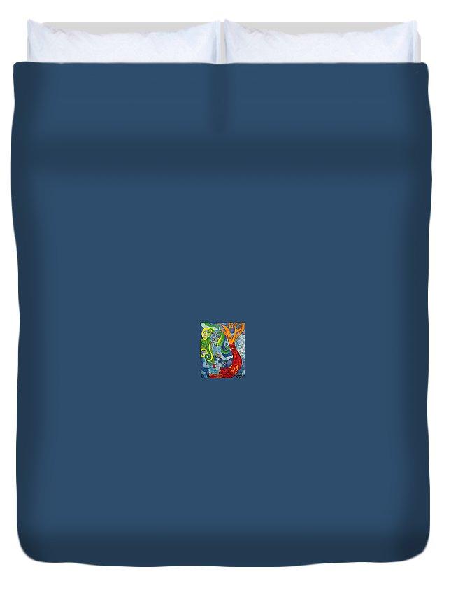 Acrylic Duvet Cover featuring the painting La Sirenita by Daniel Quinonez