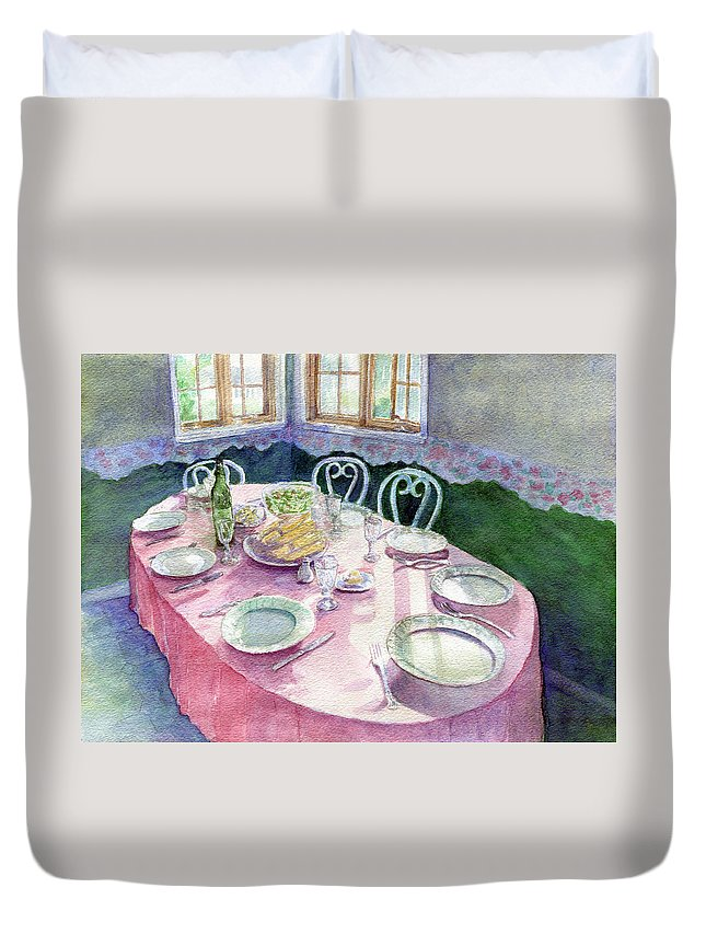 Kitchen Table Duvet Cover featuring the painting La Table De Fernande by Lucie Mizutani