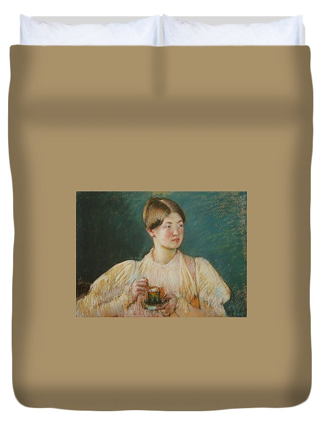 La Tasse De The Duvet Cover featuring the painting La Tasse De by Mary Cassatt