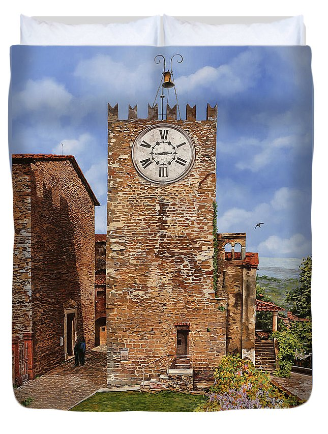 Tuscany Duvet Cover featuring the painting La Torre Del Carmine-Montecatini Terme-Tuscany by Guido Borelli