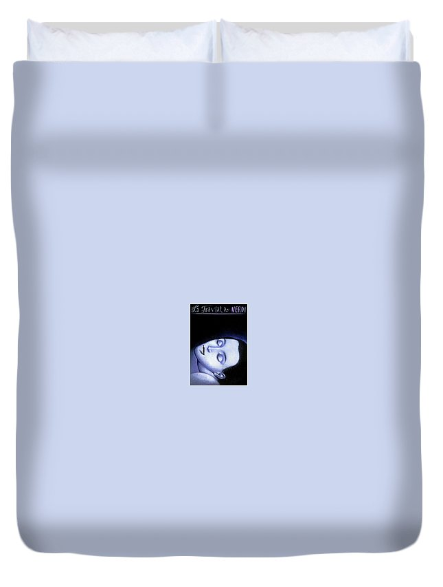 Planet Duvet Cover featuring the digital art La Traviata Rafal Olbinski by Eloisa Mannion
