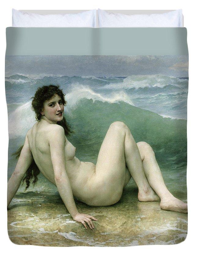 La Vague Duvet Cover featuring the painting La Vague by William Adolphe Bouguereau