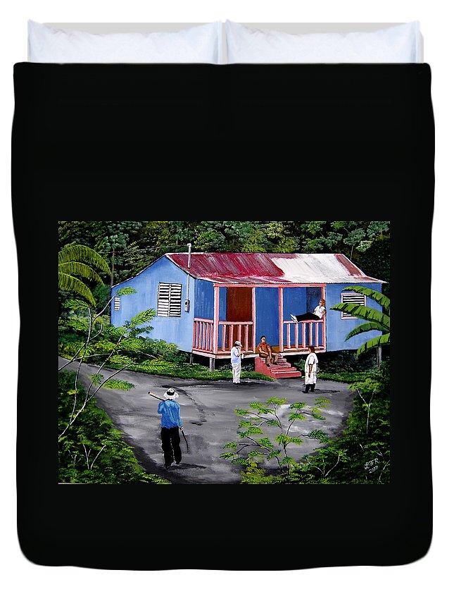 Campo Duvet Cover featuring the painting La Vida En Las Montanas De Moca by Luis F Rodriguez