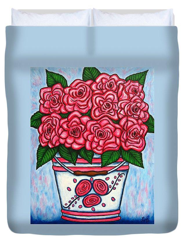 Rose Duvet Cover featuring the painting La Vie en Rose by Lisa Lorenz