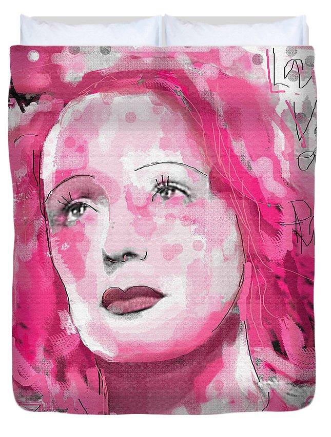 La Vie En Rose Duvet Cover featuring the digital art La Vie En Rose by Sladjana Lazarevic