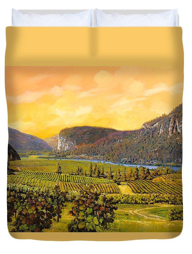 Wine Duvet Cover featuring the painting La Vigna Sul Fiume by Guido Borelli