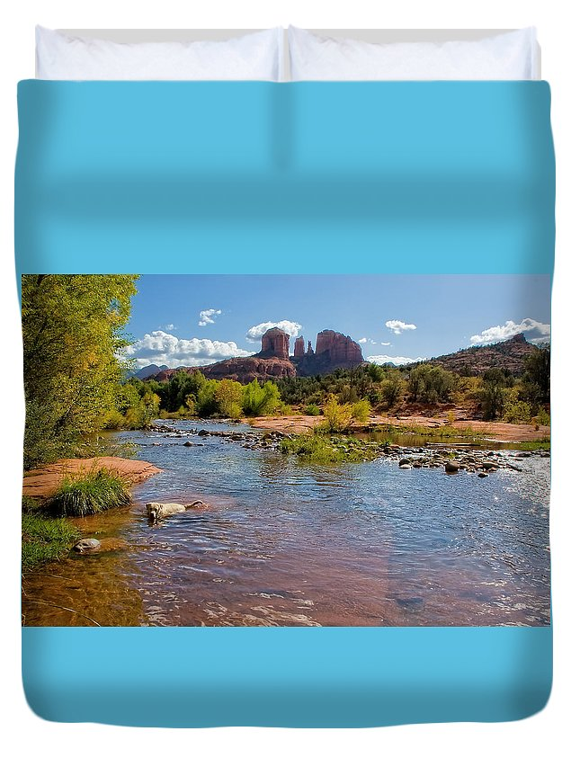 Arizona Duvet Cover featuring the photograph Lab In River At Sedona Arizona by Waterdancer
