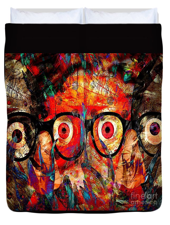 Fania Simon Duvet Cover featuring the mixed media Label The Brain Through The Eyes - Lords Of Madness by Fania Simon