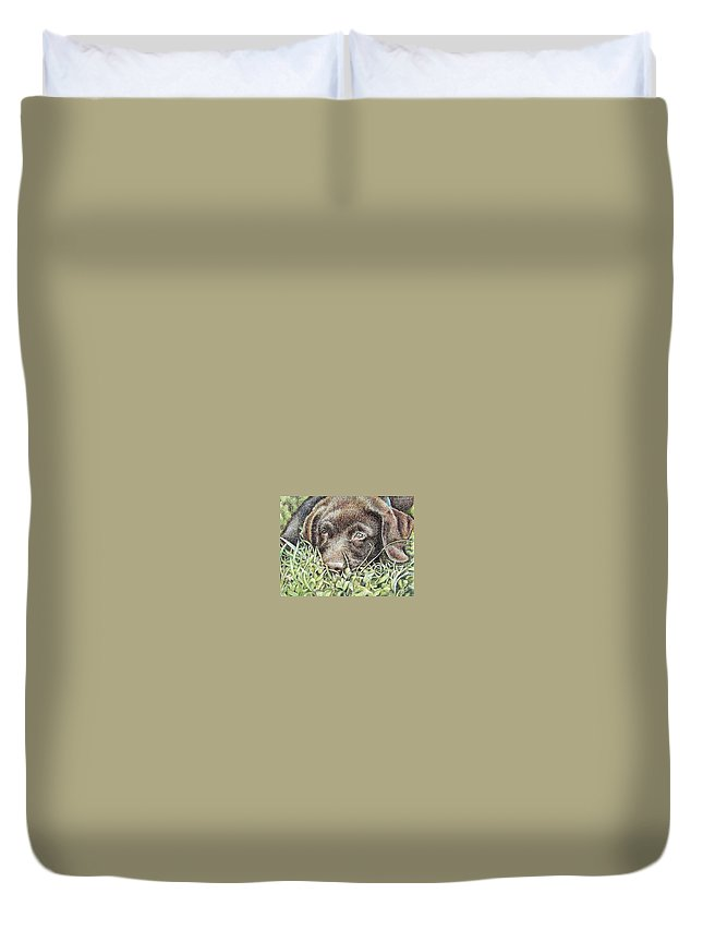 Dog Duvet Cover featuring the pastel Labrador Puppy by Nicole Zeug