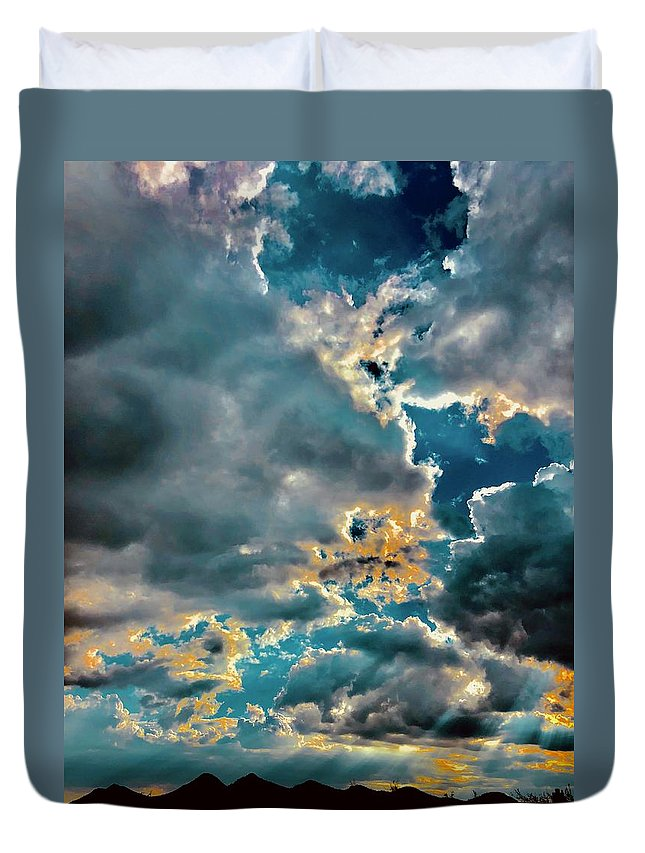 Duvet Cover featuring the photograph Labradorite Rain by Joy Elizabeth