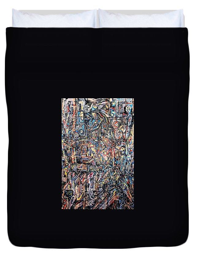 Surrealism Duvet Cover featuring the painting Labyrinth Of Sorrows by Darwin Leon
