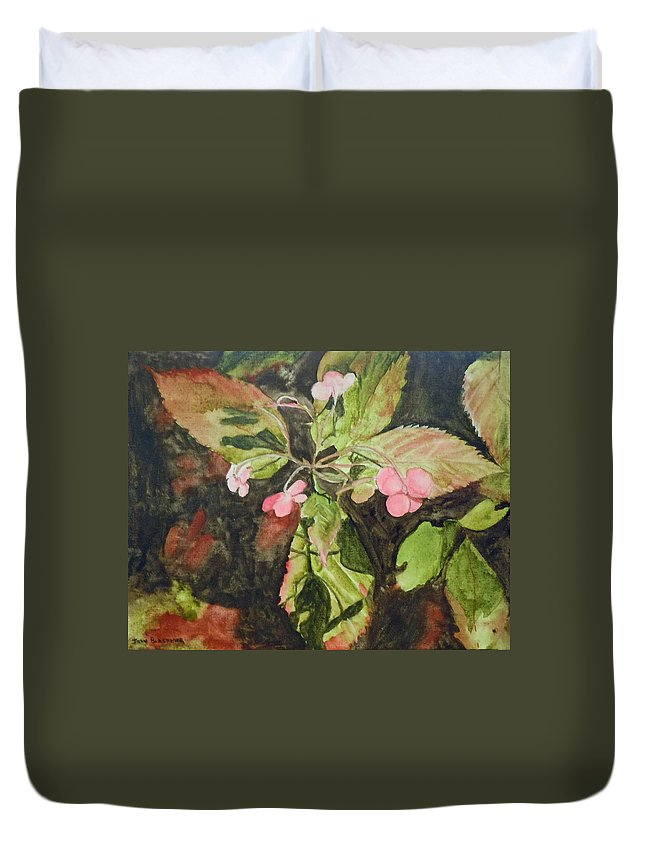 Flowers Duvet Cover featuring the painting Lace Cap 1 by Jean Blackmer