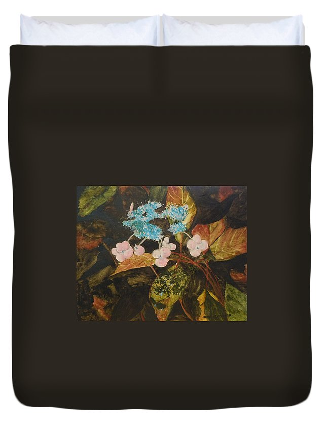 Flowers Duvet Cover featuring the painting Lace Cap 2 by Jean Blackmer