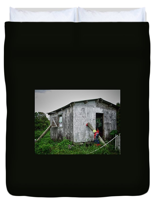 Shack Duvet Cover featuring the photograph Lace Curtains by Jessica Levant