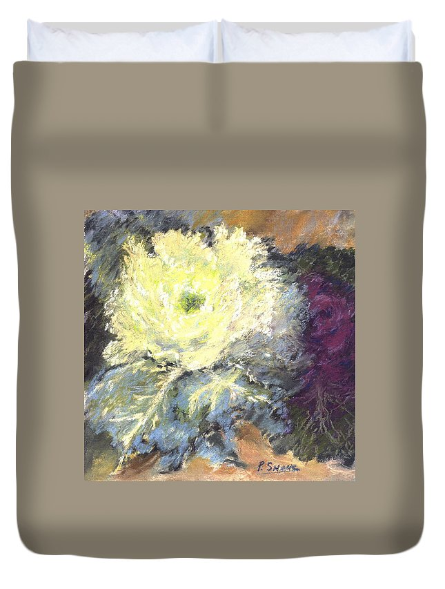 Still Life Cabbage Duvet Cover featuring the pastel Lace Curtin Cabbage by Pat Snook