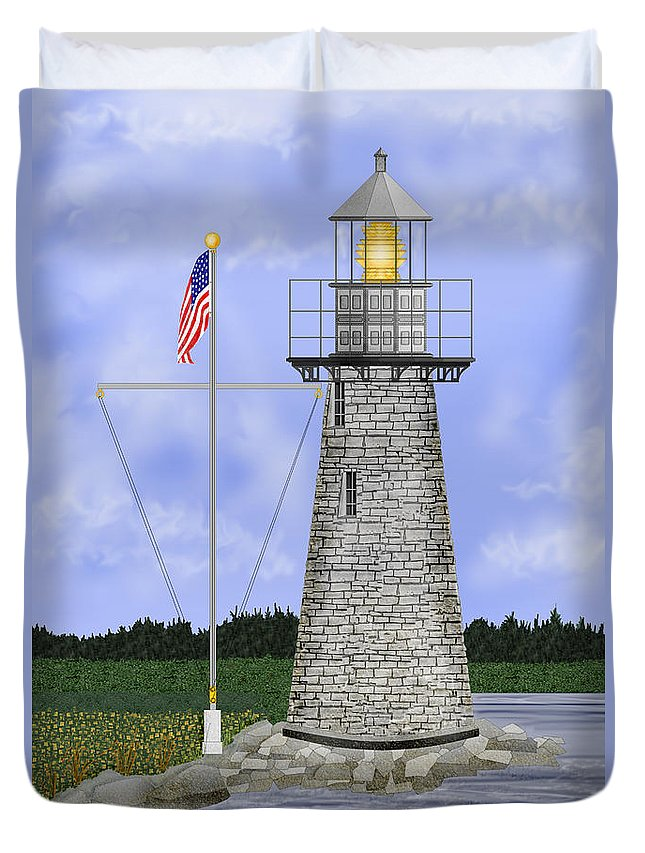 Ladies Delight Lighthouse Maine Duvet Cover featuring the painting Ladies Delight Lighthouse Maine by Anne Norskog