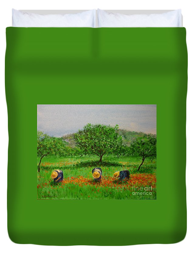 Club Diario De Ibiza Duvet Cover featuring the painting Ladies In Poppy Fields Ibiza by Lizzy Forrester