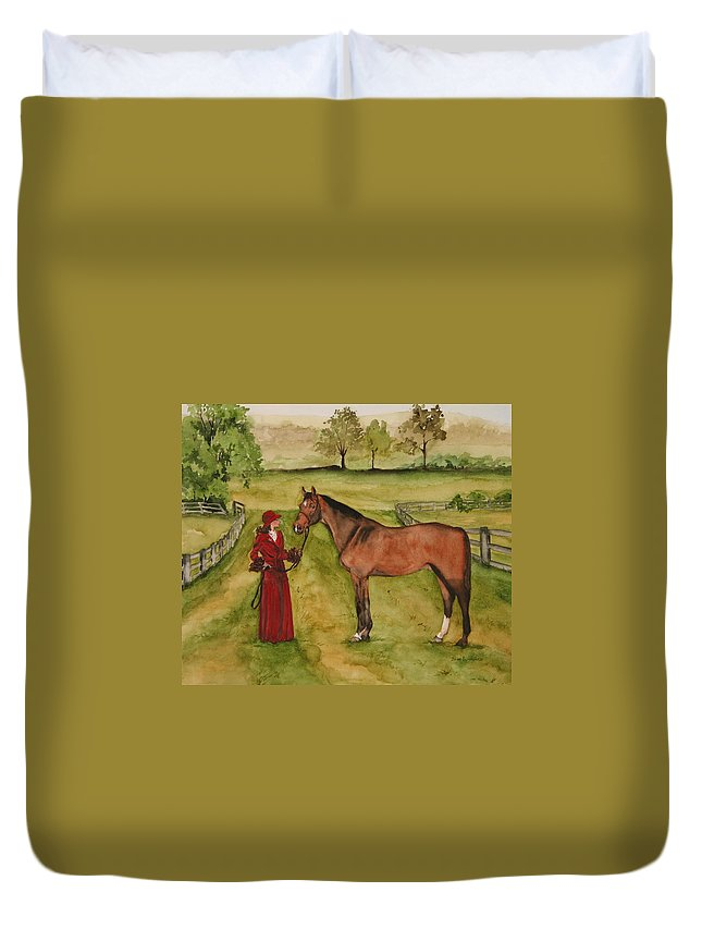 Horse Duvet Cover featuring the painting Lady And Horse by Jean Blackmer