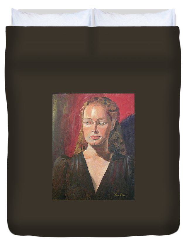 Portrait Duvet Cover featuring the painting Lady Ann by Lilibeth Andre