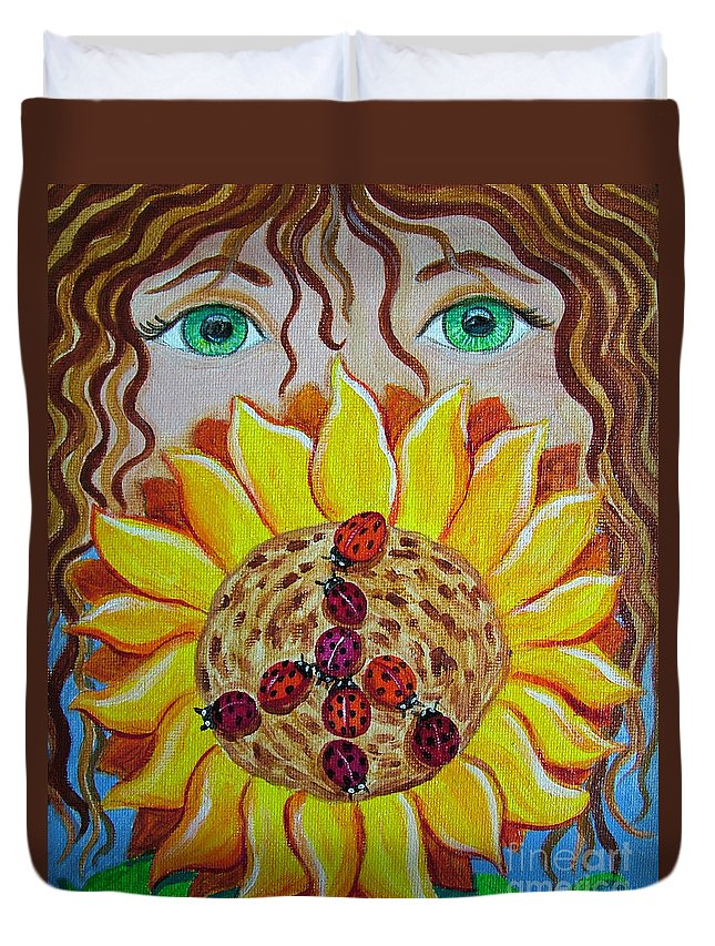 Lady Bug Duvet Cover featuring the painting Lady Bug Peace by Nick Gustafson
