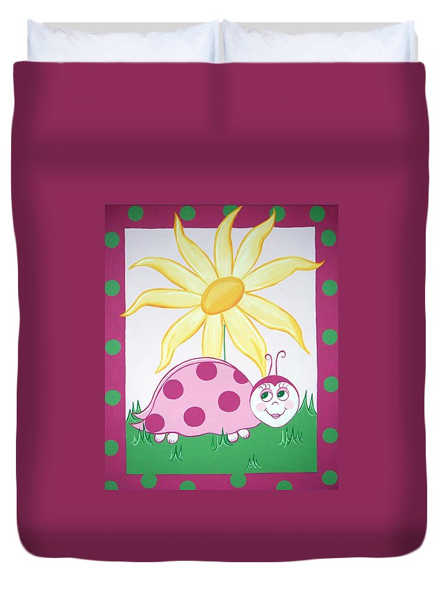 Ladybug Duvet Cover featuring the painting Lady Bug by Valerie Carpenter